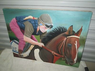 Signed & Dated Horse Racing Oil Painting / Woman Jockey / Great Overall Detail