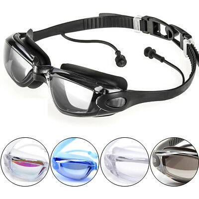 Men Women Adult UV Protection Anti-Fog Mirrored Swimming Goggles With Ear Plug