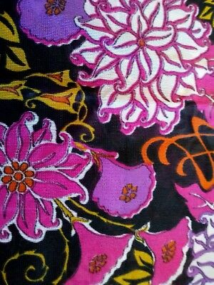 Vintage vibrant FLOWER POWER retro fabric 1970s nylon 36 x 57 inches has faults