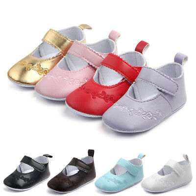 Newborn Baby Girl Shoes Anti-slip Soft Crib Shoes Leather Sneakers Prewalker UK