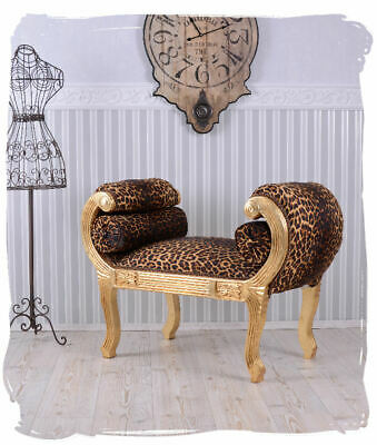 Chaiselongue Sofa Voluten Barock Hocker Leopard Sitzbank Schemel Louis XV Gold !