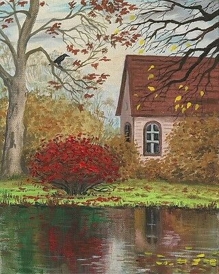 1.5x2 DOLLHOUSE MINIATURE PRINT OF PAINTING RYTA 1:12 SCALE AUTUMN LANDSCAPE ART