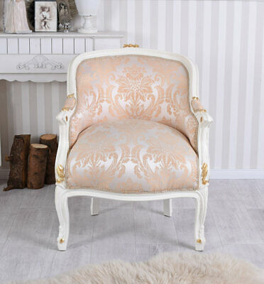 Barock Sessel Frankreich Shabby Chic Bergere Sitzbank Creme Weiss BAROQUE CHAIR