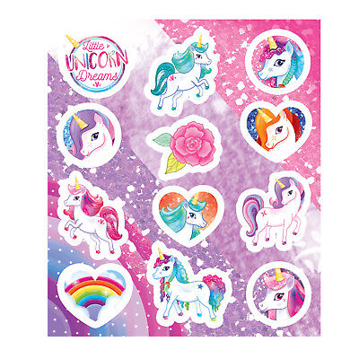 Unicorn Stickers 12 Stickers per sheet Loot Party Bag Filler Pony Kids