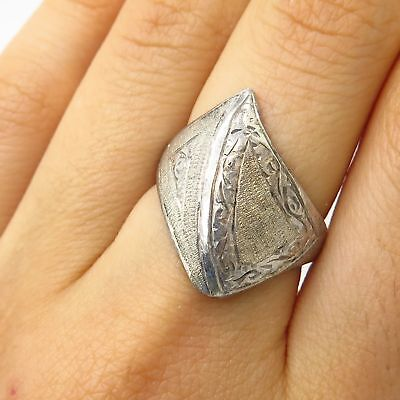Antique Siam 925 Sterling Silver Ornate Design Wide Ring Size 7