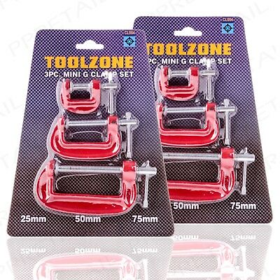 6Pc MINI G CLAMP SET SMALL-LARGE 25mm/50mm/75mm Woodwork Metal Clamping Crafts