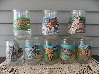 Lot of 8 Vintage Welch's Glasses World Wildlife Endangered Species Collection