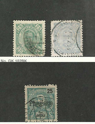 Angola, Postage Stamp, #29c, 30b, 84 Used, 1894-1902 Portugal Colony