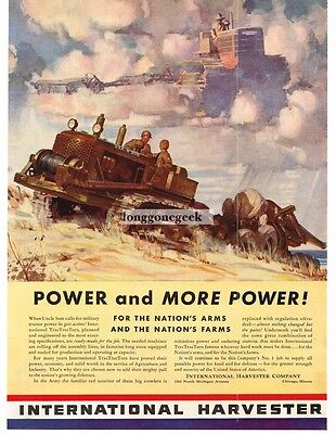 1941 International Harvester US Army TracTracTor Hauling A Cannon Vtg Print Ad
