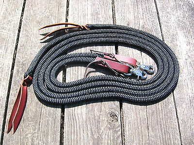 "Yacht Rope SPLIT Reins w Leathers, Snaps Black 7' x 1/2"" Brown Water Loops USA"