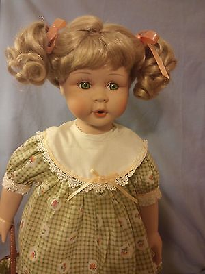 """Beautiful Green Eye Porcelain Doll With Freckles And Holding A Basket 16"""" Tall"""