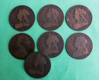 Lot of 7 Coins Great Britain Penny Bronze One Cent UK Assorted Dates