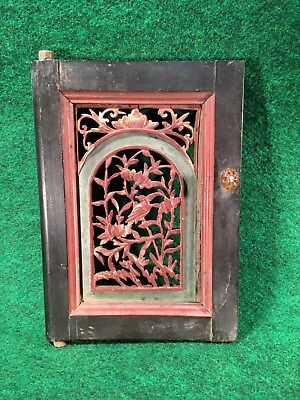 Ming Dynasty Carved Wood Panel Opium Den Bed Architectural Window Cabinet Door F