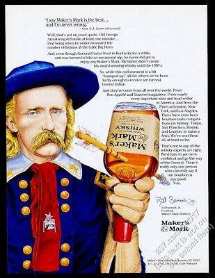 1991 General George Custer portrait Maker's Mark Bourbon whisky vintage print ad