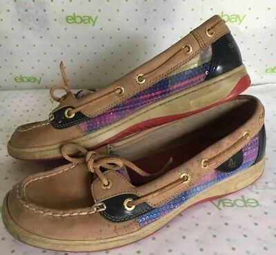 c0259ae71f1 Sperry Top Sider Womens Sequin Madras Plaid Boat Shoes 8 M Purple 2 Eye  Lace Up