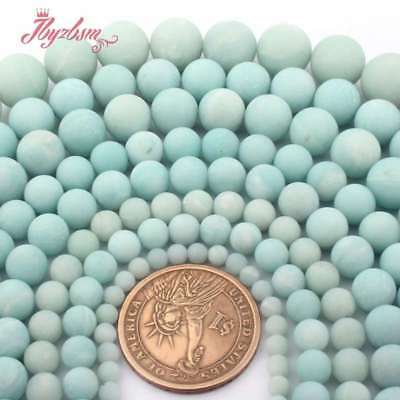 """Frosted Round Ball Green Amazonite Natural Stone Loose Beads Jewelry Making 15"""""""