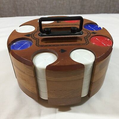 Vintage Mid Century Dreuke Wood Spinning Poker Chip Carousel Card Caddy w Chips