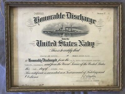 Honorable discharge certificate 1944 United States Navy framed Series C