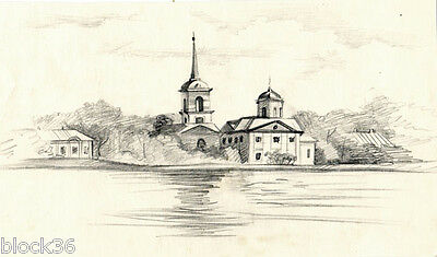 CHURCH ON THE RIVER BANK Perncil drawing by unknown Russian arist