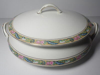 Vtg Homer Laughlin Empress Pattern Floral Gold Rim Round Covered Casserole & Lid