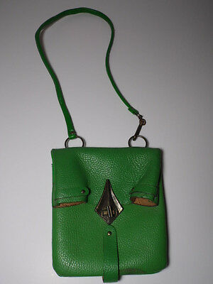 "Antique Vtg GREEN Leather PURSE HANDBAG Ornate Buckle Clasp 15"" SHOULDER DROP"