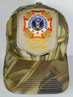 f52f5c1508e82 VETERANS OF FOREIGN WARS VFW Member CAMOUFLAGE Military PATCH HAT CAP Hunt  Safe
