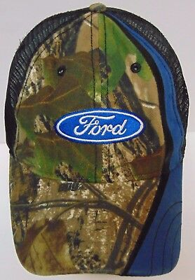FORD MOTOR COMPANY Automobile Car Logo ADVERTISING CAMOUFLAGE BLUE BLACK Hat Cap