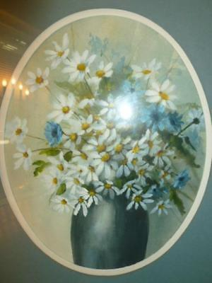 Vintage 1981 Watercolor Vase of Daisies Daisy Framed Signed Painting