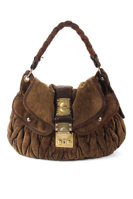 11d05e6b57a Miu Miu Brown Suede Leather Gold Tone Matelasse Coffer Shoulder Handbag