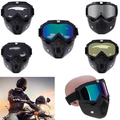 Motorcycle Helmet Detachable Open Face Mask Filter Mouth Goggles Eyewear Glasses