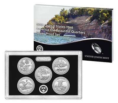 2018 S America The Beautiful Silver Proof Quarter Set (5pcs) (WITH BOX AND COA!)