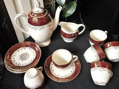 Vintage Gilded J&g  Meakin Maroon Coffee Pot & Cream Jug & 6 X Demi Cups Saucers