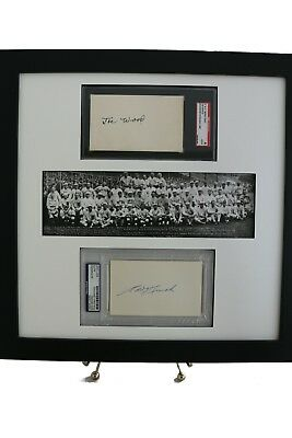 Edd Roush PSA/DNA & Joe Wood SGC/JSA Slabbed 3x5 Autographs w/ Panoramic Print