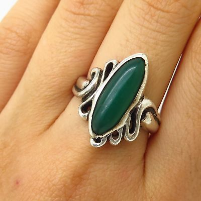 Vtg Signed 925 Sterling Silver Real Green Onyx Gem Wide Ring Size 8 1/2