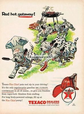 1956 Texaco Dalmation Puppies Raiding Cookout Red Hot Getaway art Vtg Print Ad