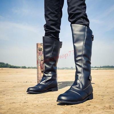 Vintage Hot Mens Riding Knight Shoes Military Knee High Boots Motorcycle Combat