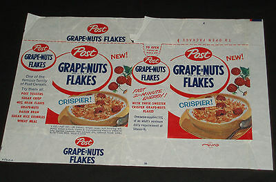 1950's Post Grape Nuts Flakes Cereal Box Snack Pack Wax Wrap