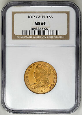 1807 $5 Gold Capped Bust, Half Eagle - NGC MS64 - US Rare Coin