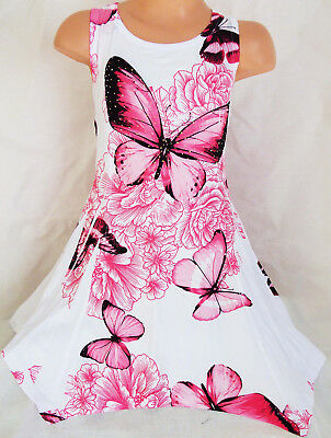 Girls White Pink Butterfly Print Lace Trim Rag Hem Sporty Dance Party Dress