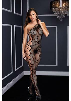 Baci White Label Off the Shoulder Bodystocking Black Exotic Lingerie Size 2-14