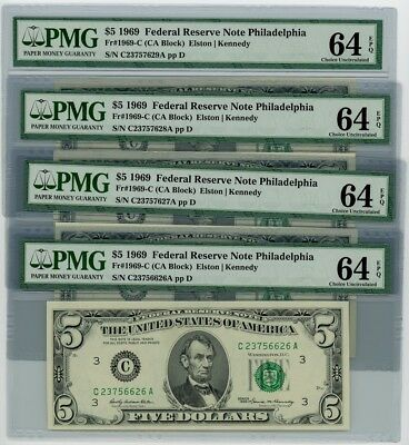 Fr. 1969-C $5 1969 4 Consec. Federal Reserve Note #dc-2526 EPQ PMG