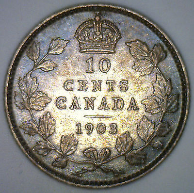 1903 Canada Canadian Silver Ten Cents Coin 10 Cents Edward VII EF Extra Fine