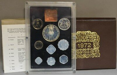 1972 Republic of India 9pc Proof Coin Set in Original Packaging With COA