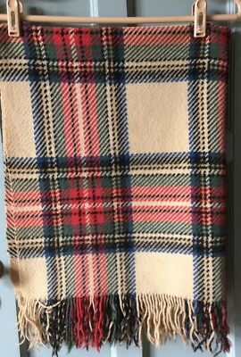 "Antique Wool from 1929 Colorful Plaid Baby Carriage Blanket 35""x38"" Heirloom"