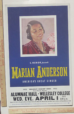 Marian Anderson Classical Concert Poster Wellesley College Massachussetts 1953