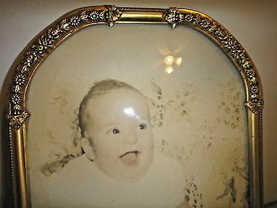 Antique Victorian BRASS flowers barbola Picture Frame w/ convex glass BABY vtg