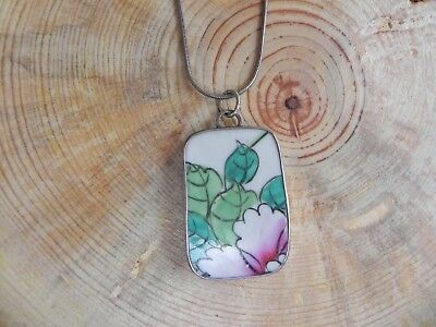 """Pink, Green, White Floral Pottery & Sterling Silver Pendant on SS Necklace 18"""""""