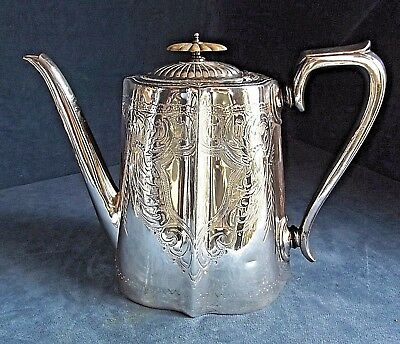 ZSUPERB Large ~ SILVER Plated ~ Fluted ENGRAVED ~ TEAPOT ~ c1900