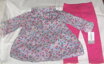 NWT Girls 3T CARTER'S 2 Pc Outfit Leggings and Long Sleeve Top NEW