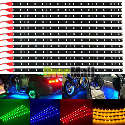 "12 Pack DC 12V Waterproof 1Ft 15 LED Strip Underbody Light with 6"" wires 4 motor"